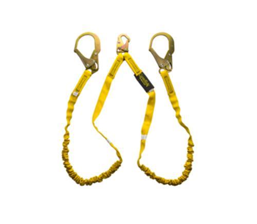 6 ft Guardian Fall Protection Double Leg Internal Shock Lanyard w/ Steel Snap Hook