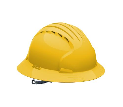PIP Evolution Deluxe 6141 Vented Full Brim Hard Hat - Yellow