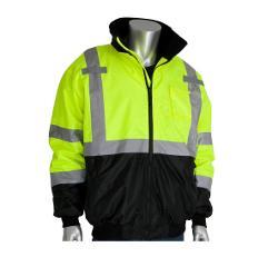 PIP ANSI Type R Class 3 Value Hi-Vis Yellow Black Bottom Bomber Jacket w/ Zip-Out Fleece Liner - 2XL