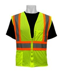 Global Glove Class #2 Lime w/ Silver & Orange Safety Reflective Vest - 2 XL