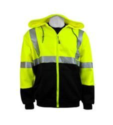 Global Glove FrogWear ANSI Class 3 High Visibility Hooded Fleece Sweat Shirt - Medium