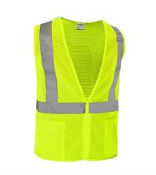 Reflective Apparel Factory ANSI 2 Hi-Vis Zippered Mesh Lime Safety Vest - 2XL