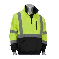 PIP ANSI Type R Class 3 Quarter-Zip Pullover Black Bottom Sweatshirt / Hi-Vis Yellow - Large