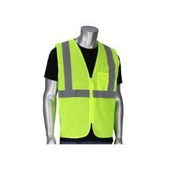 PIP ANSI Type R Class 2 Dual Sized Value Zipper Mesh Vest / Hi-Vis Yellow - Small/Medium