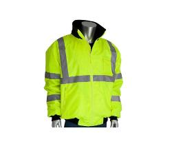 PIP ANSI Type R Class 3 Quarter-Zip Pullover Sweatshirt w/ Black Bottom / Hi-Vis Yellow - XL
