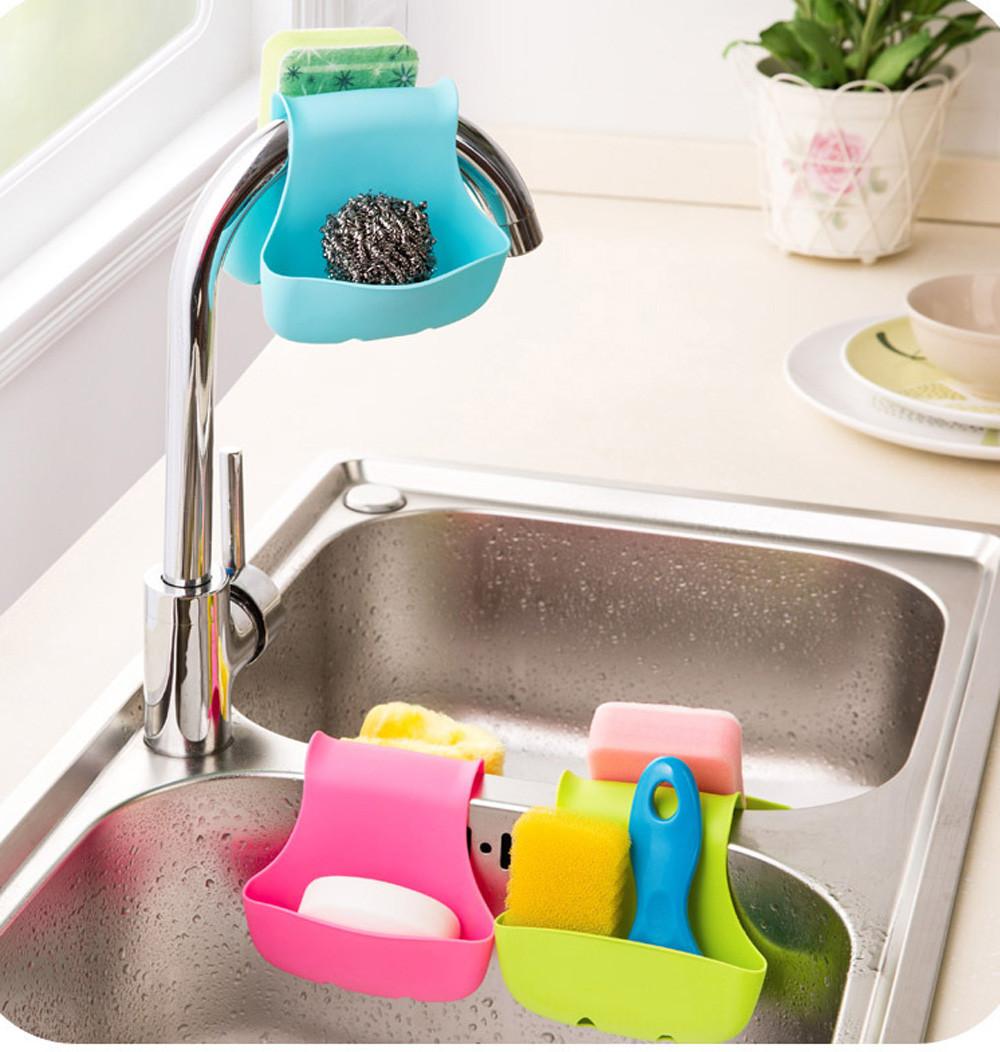 Double Sink Caddy Kitchen Organizer Storage Sponge Holder Rack Tool   Tanga