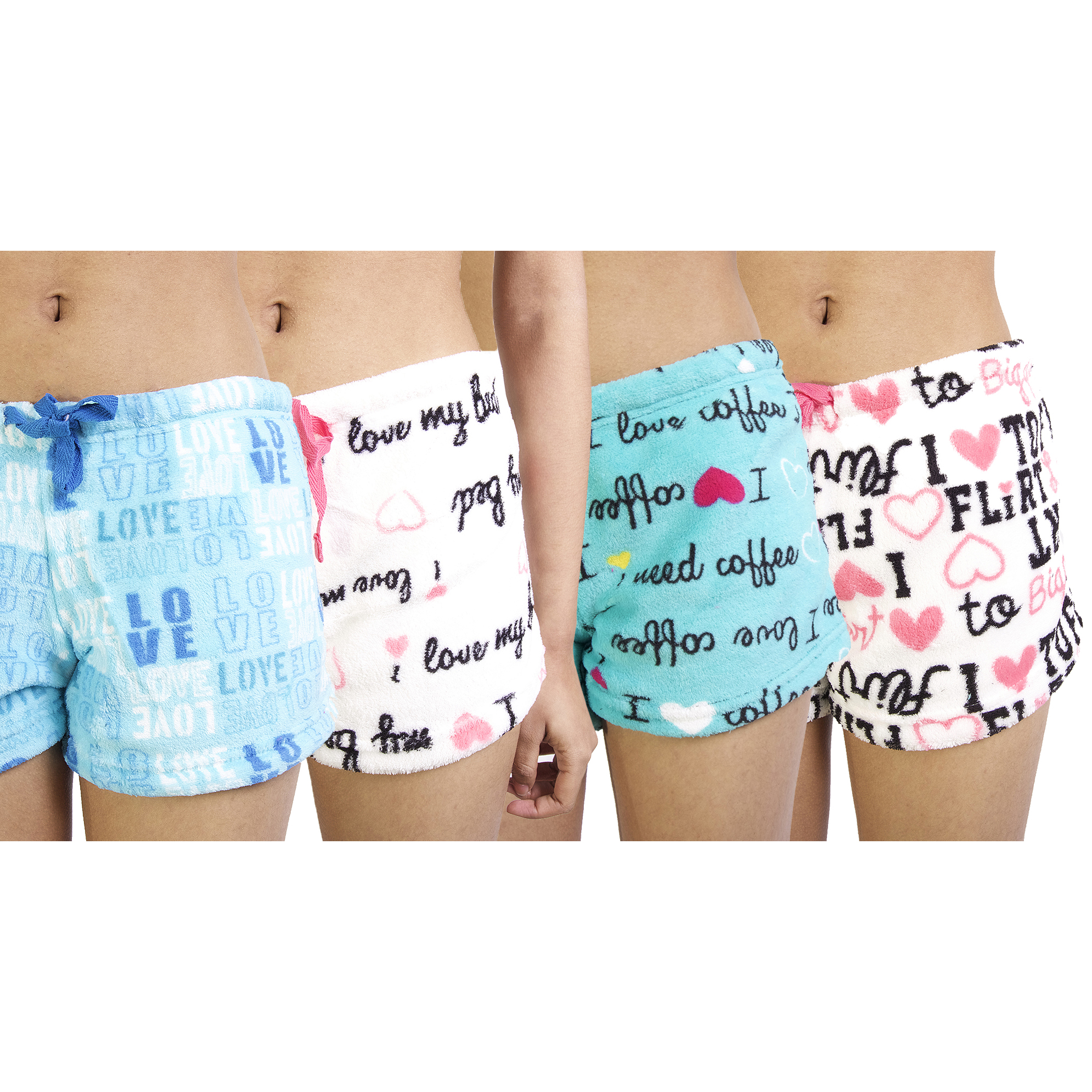 4-Pack Women s Super Soft Printed Plush Shorts