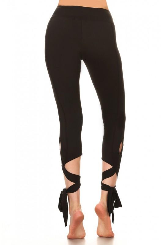 2-Pack Woman s  Cross Tie Cuff Slim Yoga Pants Capri Activewear Leggin 11110531