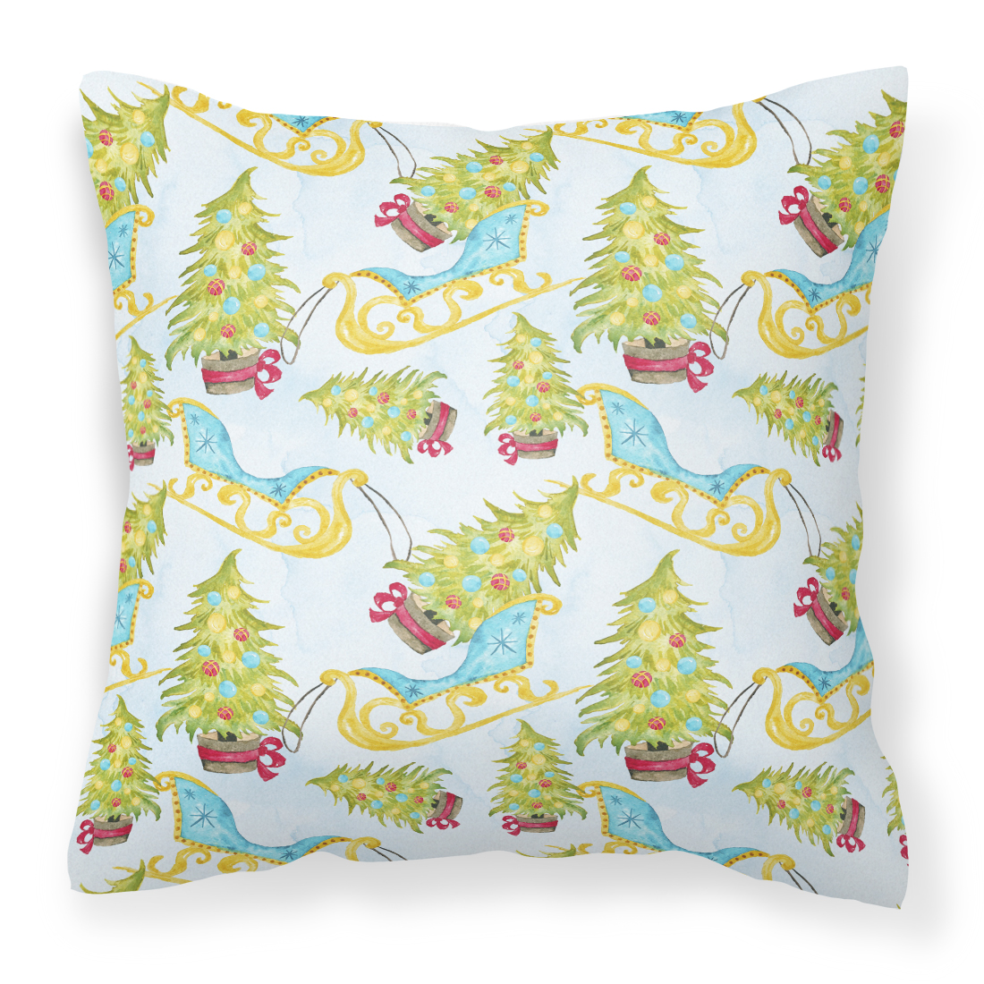Decorative Pillow Fabric : Christmas Tree and Sleigh Fabric Decorative Pillow - Tanga