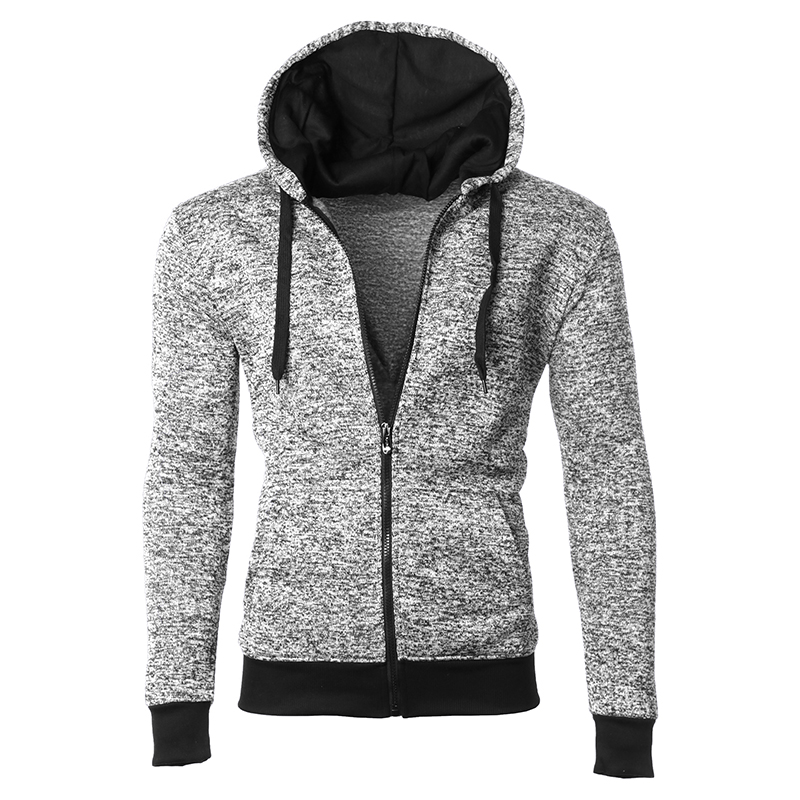 Men s Moisture Wicking Fleece-Lined Full-Zip Up Marled Hoodie (S-2X)