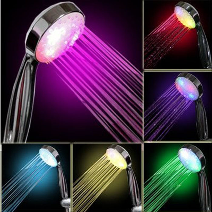 7 Color LED Light Bright Water Bathroom Shower Head Glow