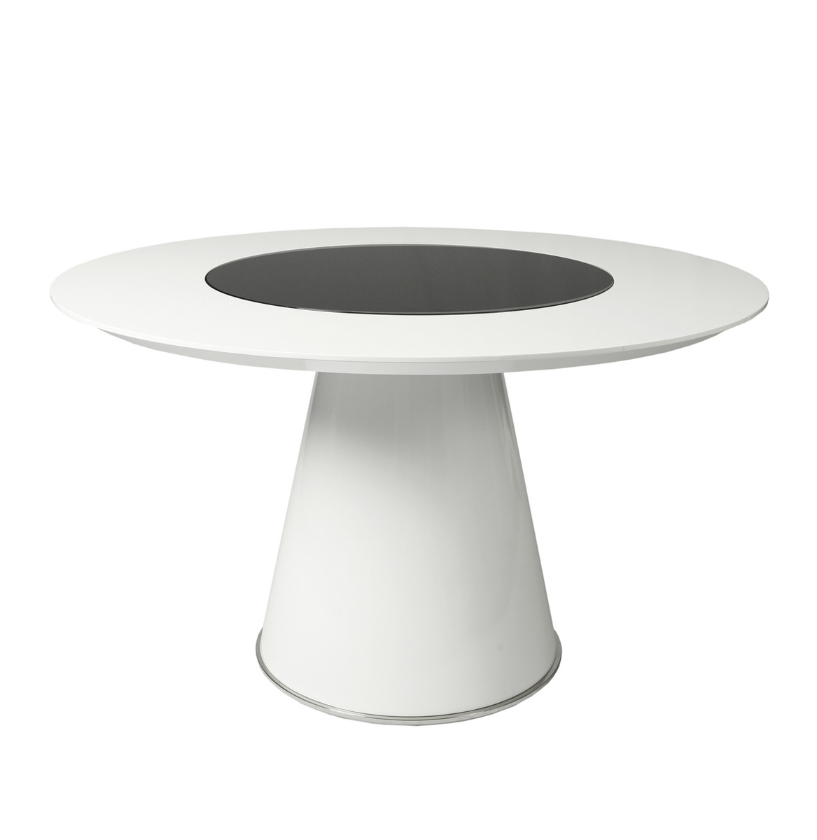 Pastel taranto 52 5 inch glossy white dining table w for 52 glass table top