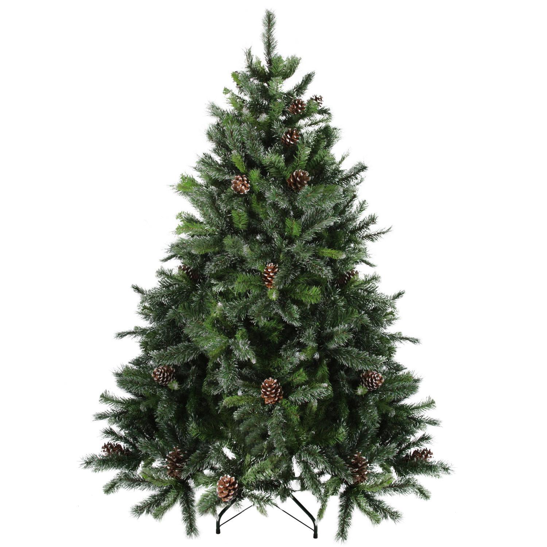 7' Snowy Delta Pine with Pine Cones Artificial Christmas ...