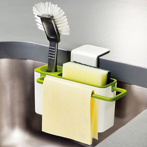 New Sponge Towel Brush Suction Cup Base Kitchen Sink Rack Holder 9785009