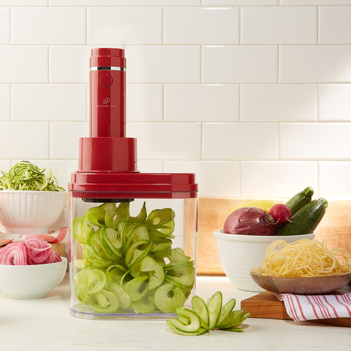 Wolfgang Puck 3-in-1 Electric Power Spiralizer With 3 Blades and Recip