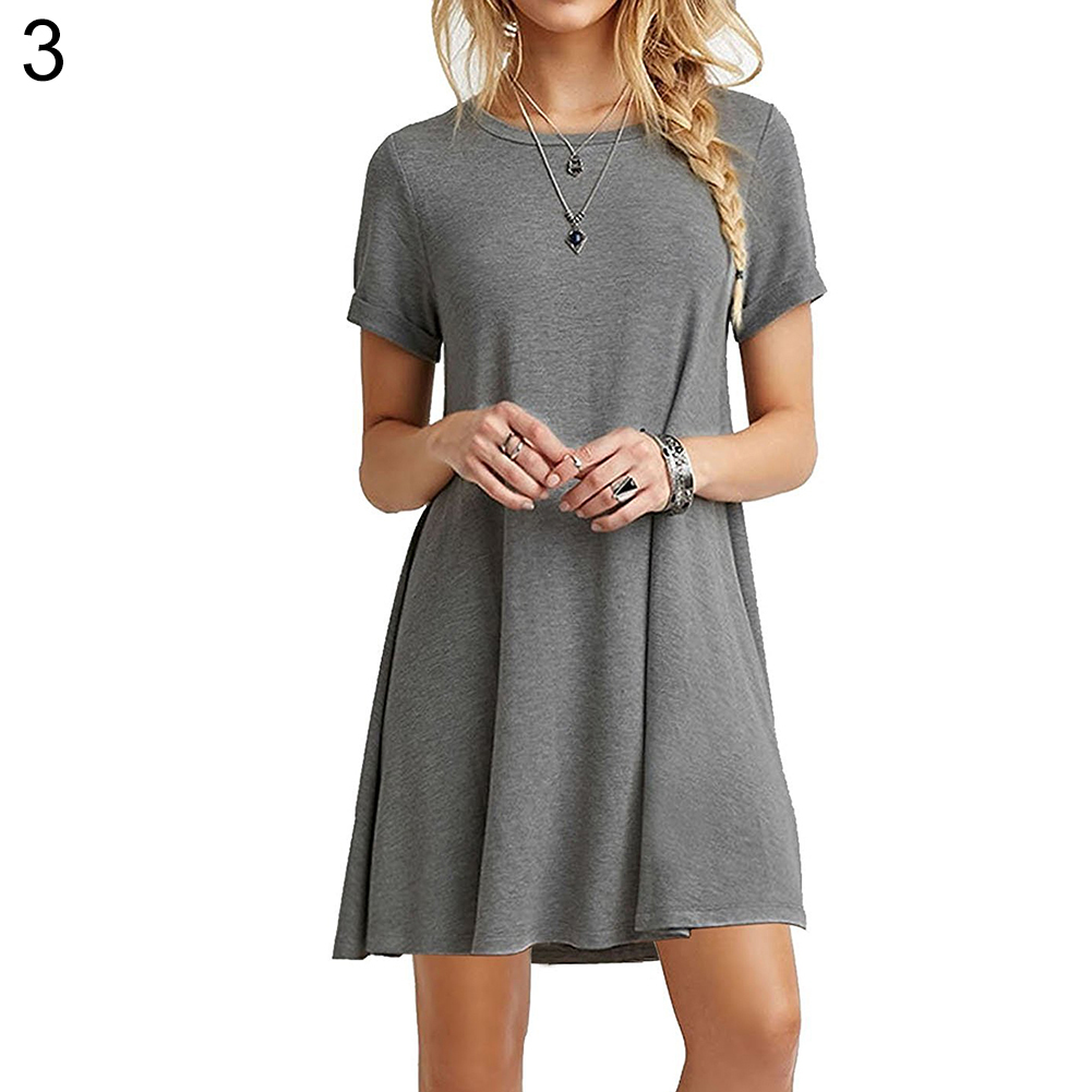 Round Neck Plain Basic Flowy Mini T-Shirt Dress - BelleChic 58dd48f36