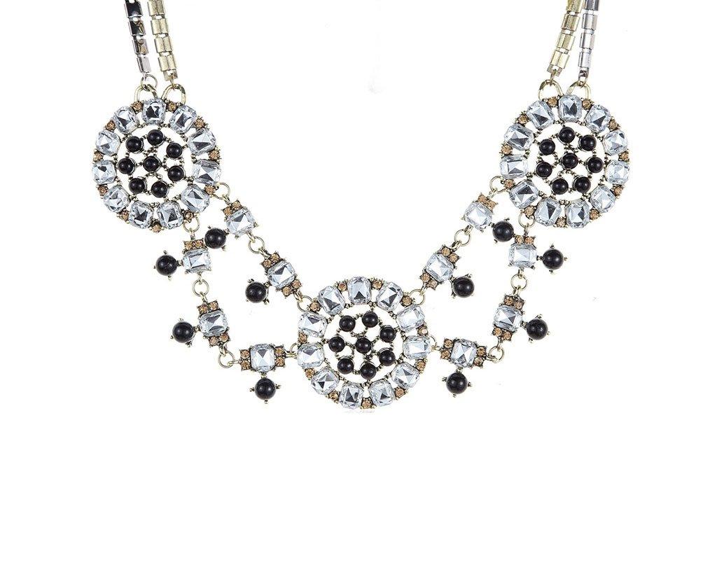 Novadab Retro Queen Geometric Crystals Statement Necklace