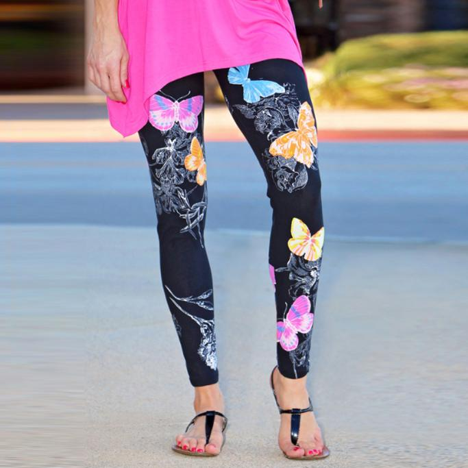 Fashion Women Skinny Butterfly Printed Stretchy Pants Leggings