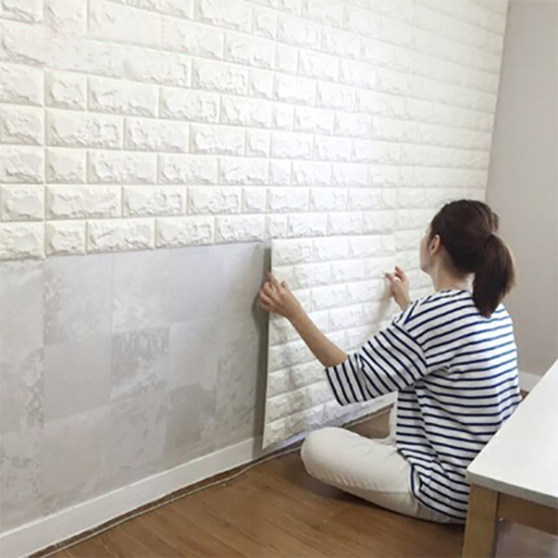 Nice 3d Wall Decor Part - 14: Peel And Stick 3D Wall Panel For Interior Wall Decor, White Brick Wallpaper  - Tanga