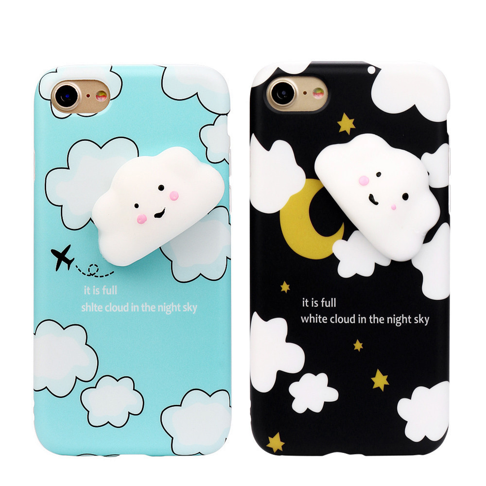 3D Cute Cloud Clear Silicone Back Soft Case Cover For iPhone 8  8Plus