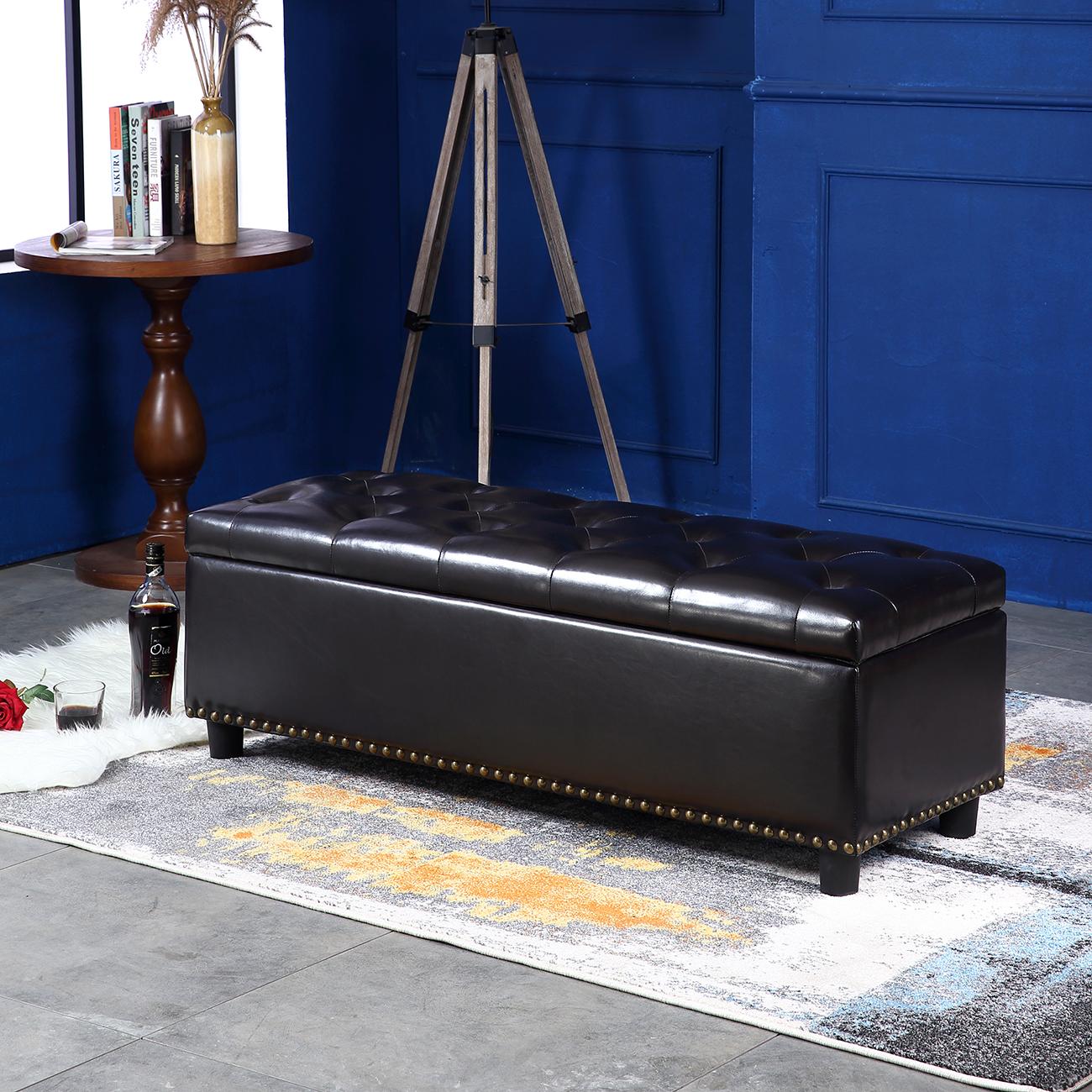 Belleze 48 Quot Rectangular Storage Ottoman Bench Footrest