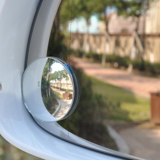 Two 2 Inch Stick on Rearview Blind Spot Convex Mirrors Thin