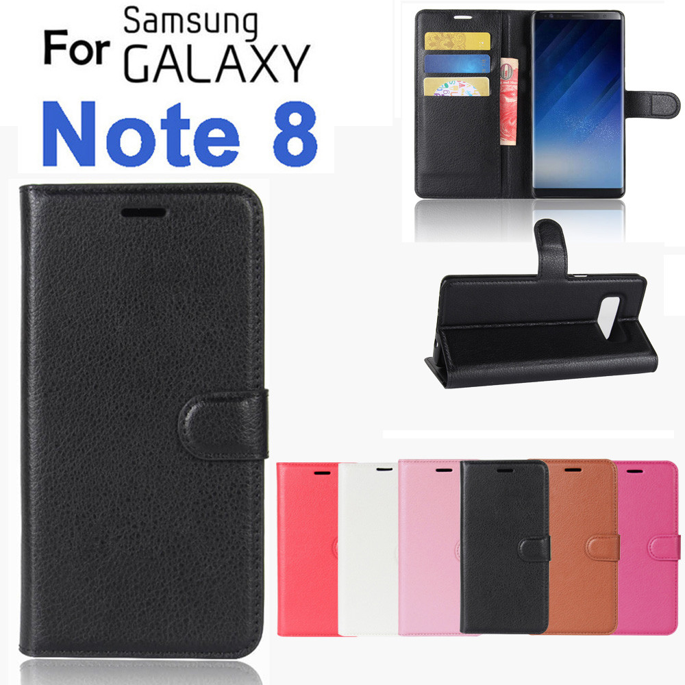 For Samsung Galaxy Note 8 Luxury Leather Magnetic Flip Card Case Stand
