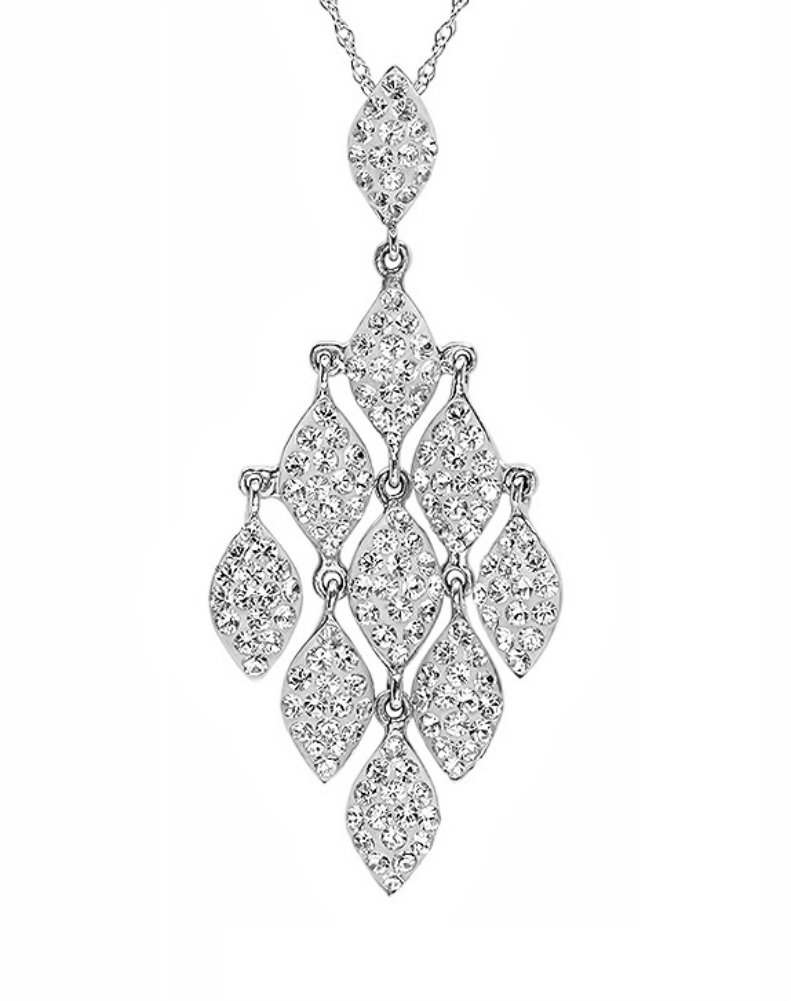 Sterling Silver Chandelier Pendant Necklace made with Swarovski Crysta