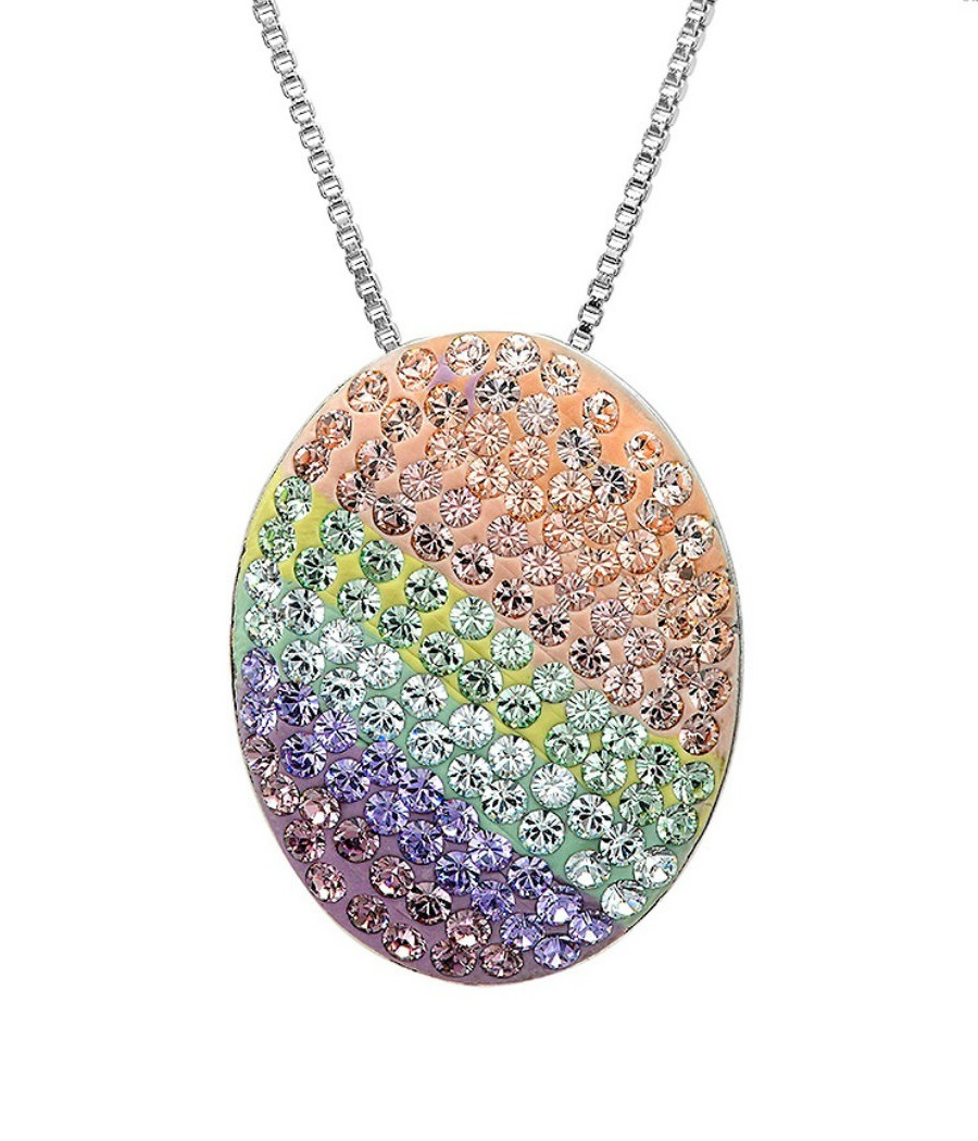 Sterling Silver Multi Colored Disc Pendant-Necklace with Swarovski Cry