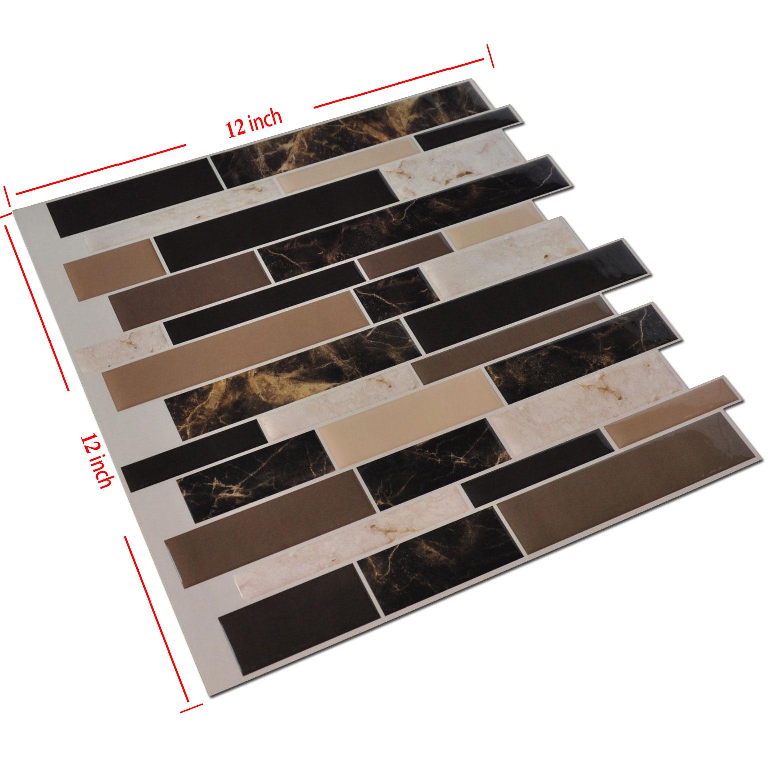 Art3d 6 pack peel and stick kitchen backsplash tiles 12 for Peel and stick wallpaper squares
