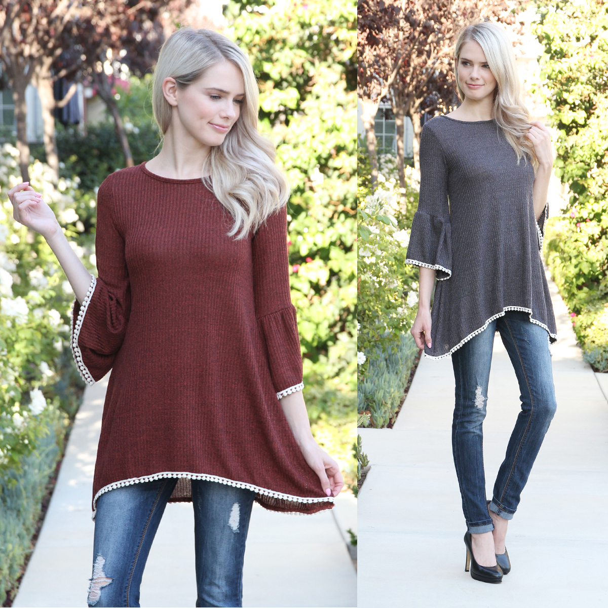 Pom Pom Ribbed Tunic   S-XL   5 Colors 10916919