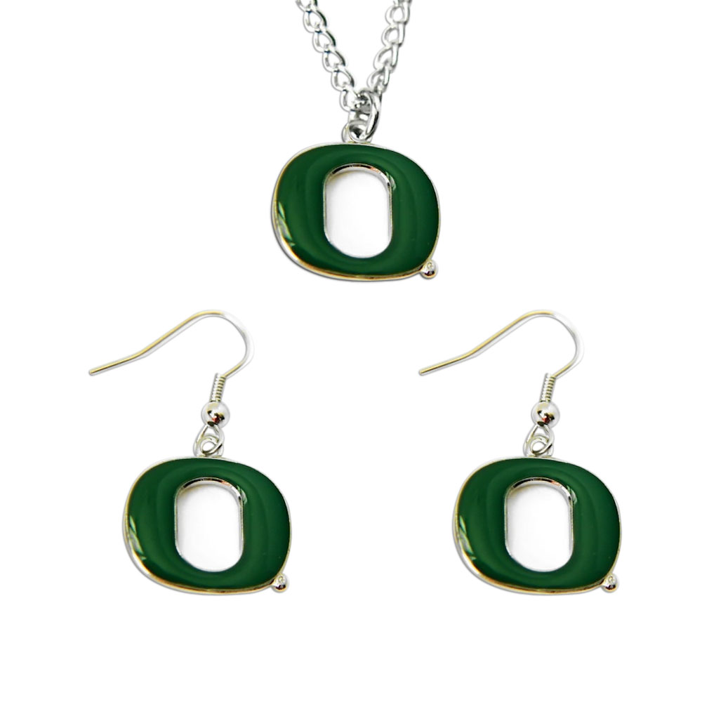 Oregon Ducks Necklace and Dangle Earring Charm Set NCAA 1de1d12719a2