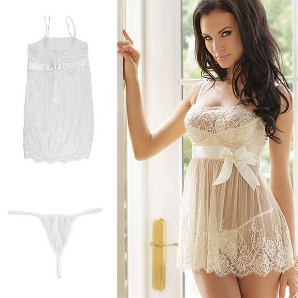 Lace Lingerie Dress White Nightwear Underwear Babydoll ...