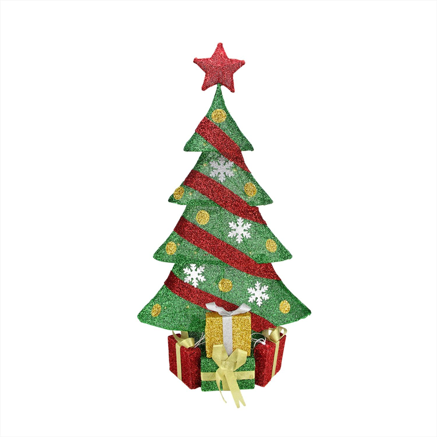"""39"""" Lighted Green And Red Tinsel Decorated Christmas Tree"""