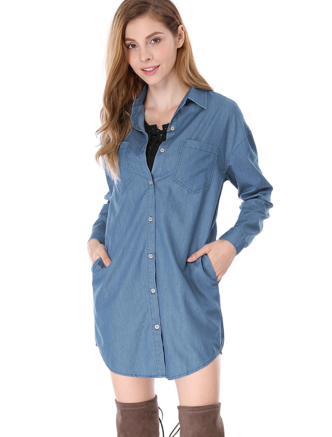 Women drop shoulder long sleeves loose denim tunic shirt for Womens denim tunic shirt