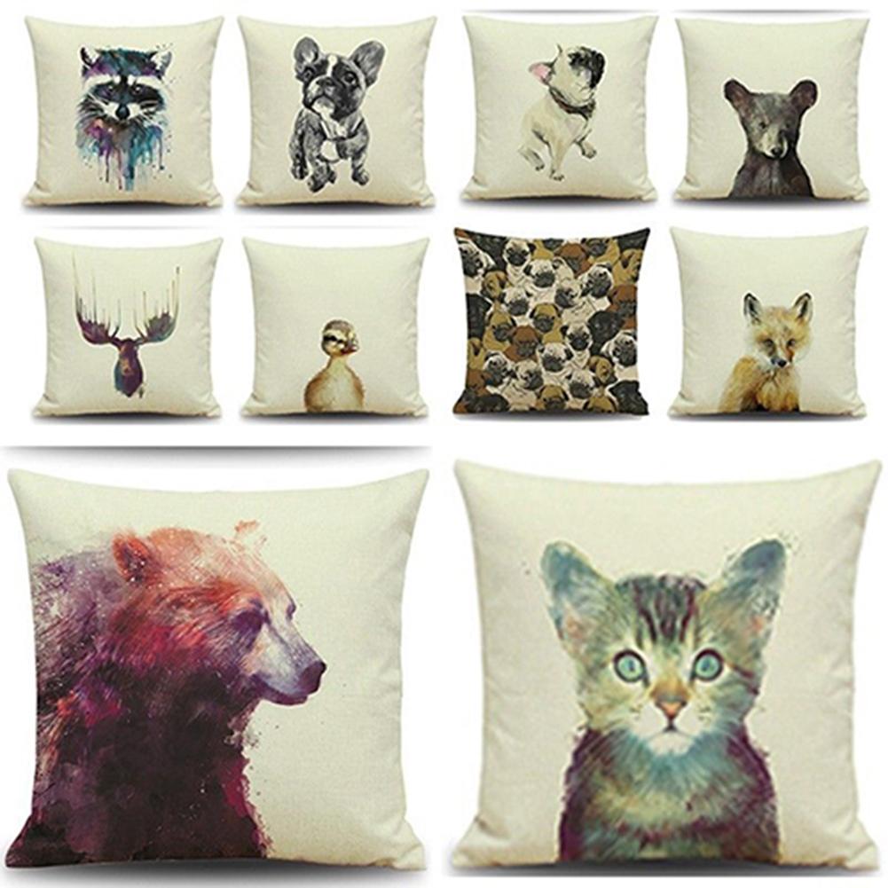 Cotton Animal Pattern Square Pillow Case Decorative Sofa Cushion Cover 2e7150c7303f