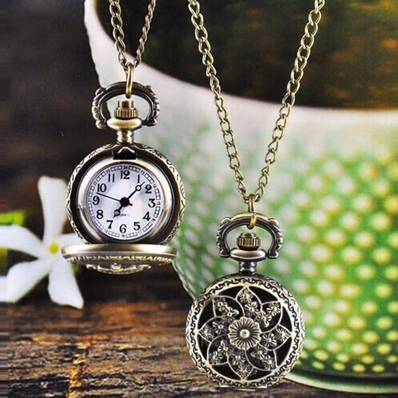 Fashion Vintage Retro Bronze Quartz Pocket Watch Pendant Chain Necklac