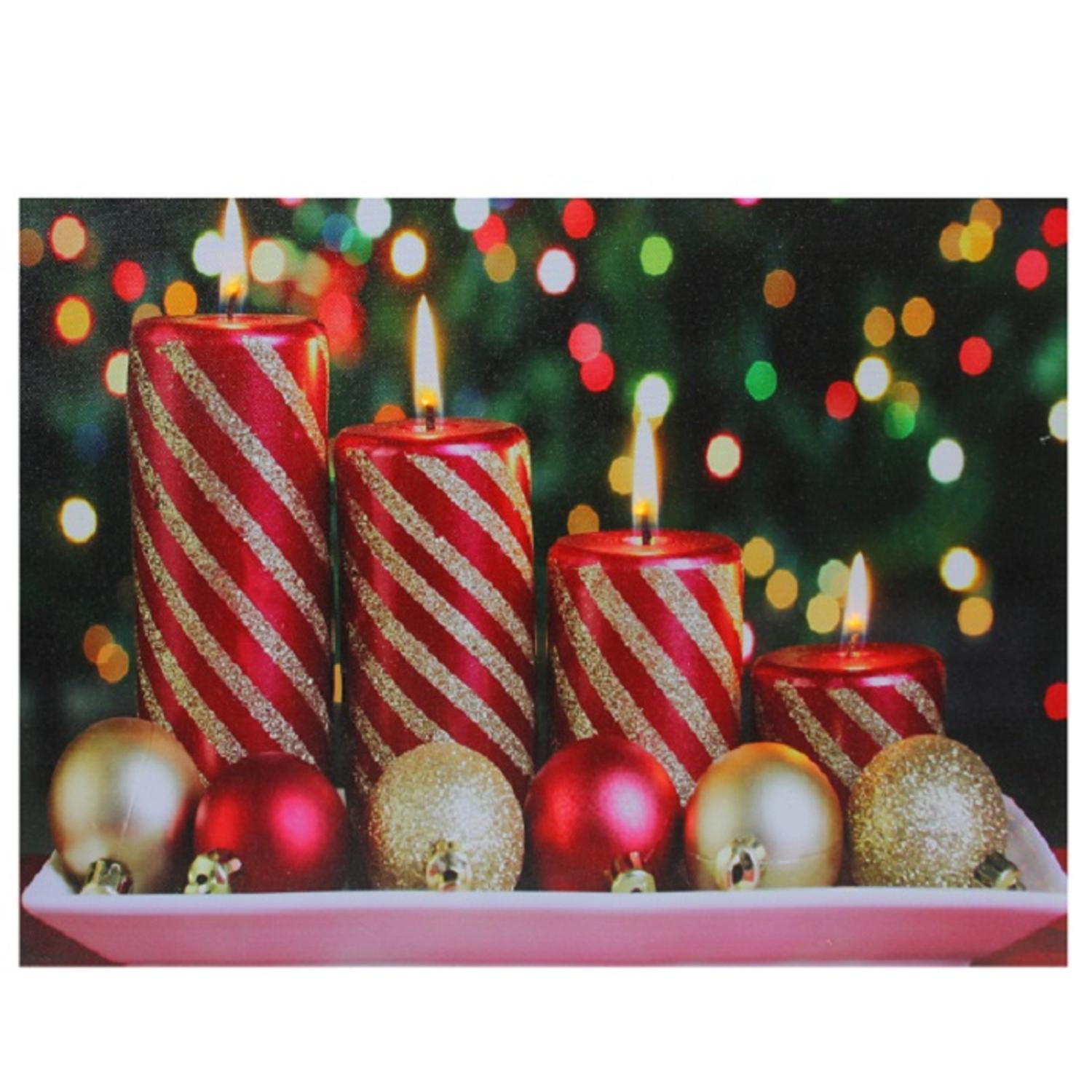 Led lighted christmas candles with ornaments canvas wall for Christmas wall art amazon