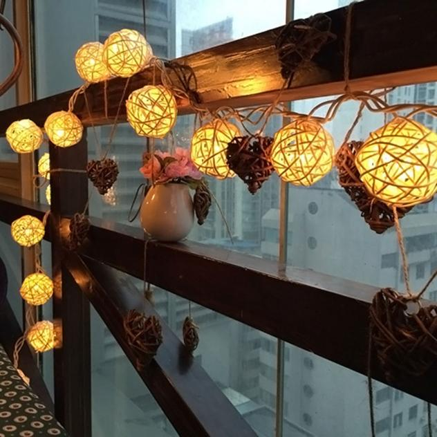 20 LED Warm White Rattan Ball String Fairy Lights For Xmas  Party