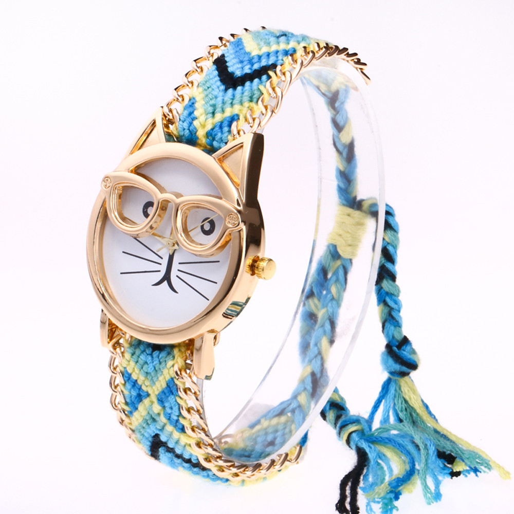 Women Knitted Weaved Rope Band Bracelet Quartz Dial Wrist Watch L49