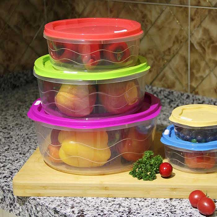 10-Piece BPA Free Food Storage Container Set with Color Coded Lids