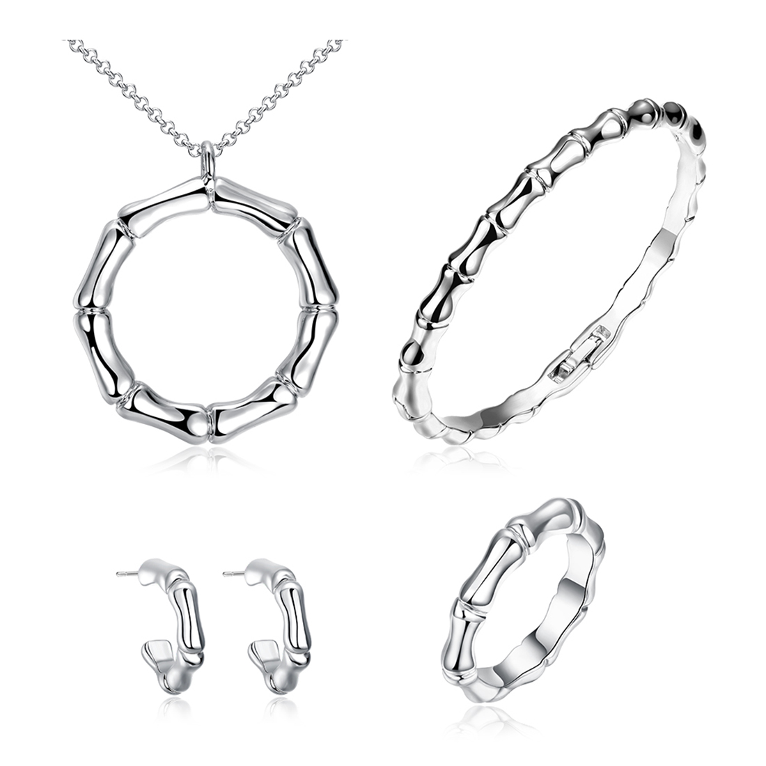 4 Piece Set  Platinum Plated Necklace, Earrings, Rings, and Bracelet