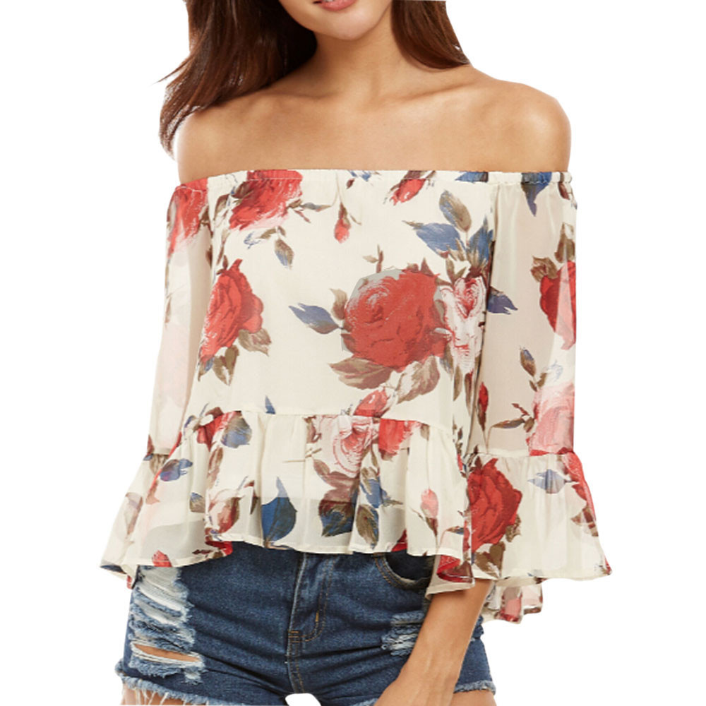 Women s Loose Short Sleeve Off Shoulder Printed Blouse