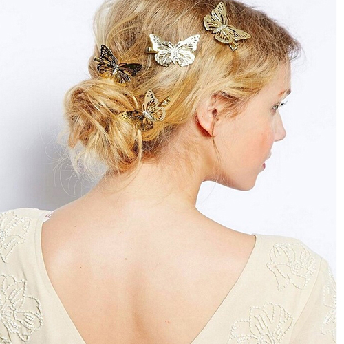 Women s Hollow Golden Color Butterfly Hair Clip