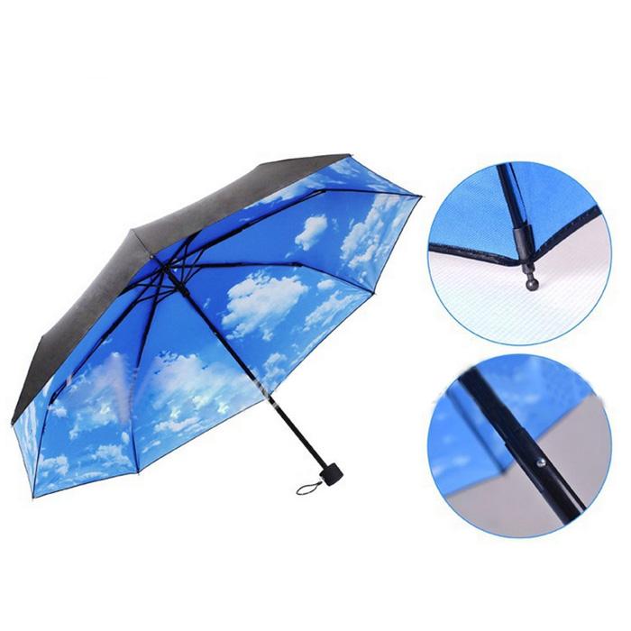 Anti-UV Sun Protection and Rain 3 Folding Umbrella - Blue Sky