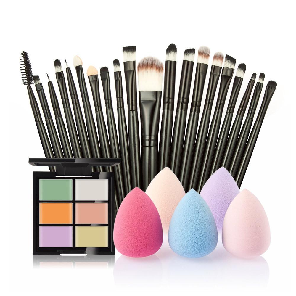 6-Color Concealer   20 Makeup Brushes   Powder Puff 7132980