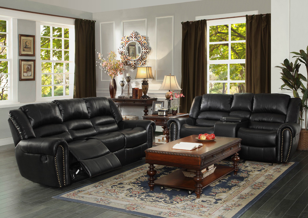 Homelegance center hill 2 piece living room set in black for Living room set deals