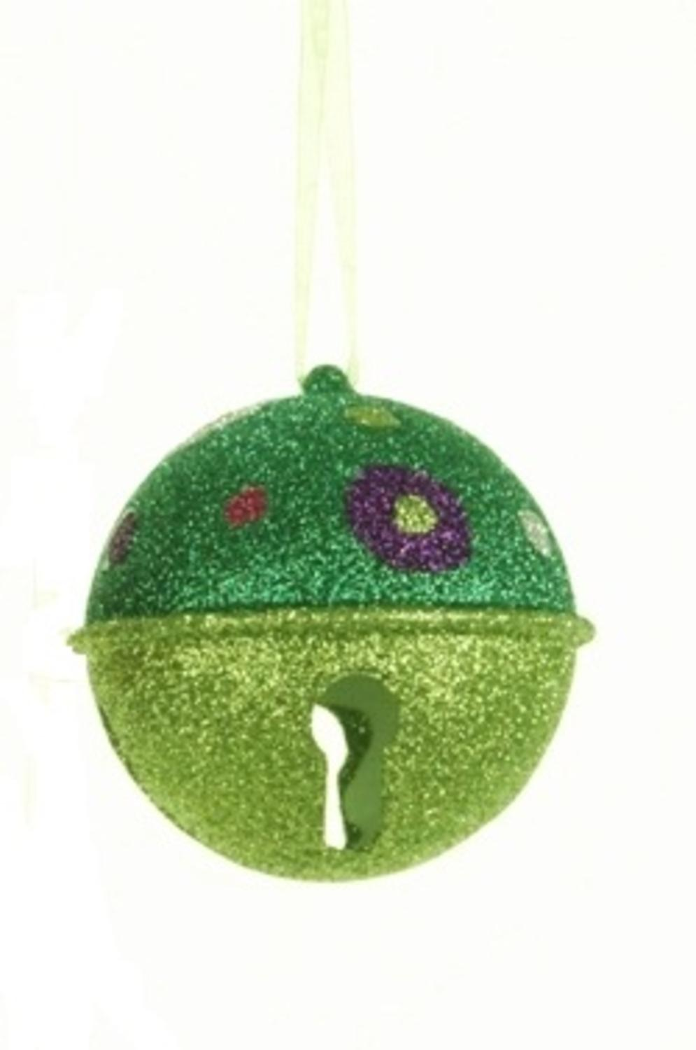 Candy fantasy green glitter bell with polka dots christmas