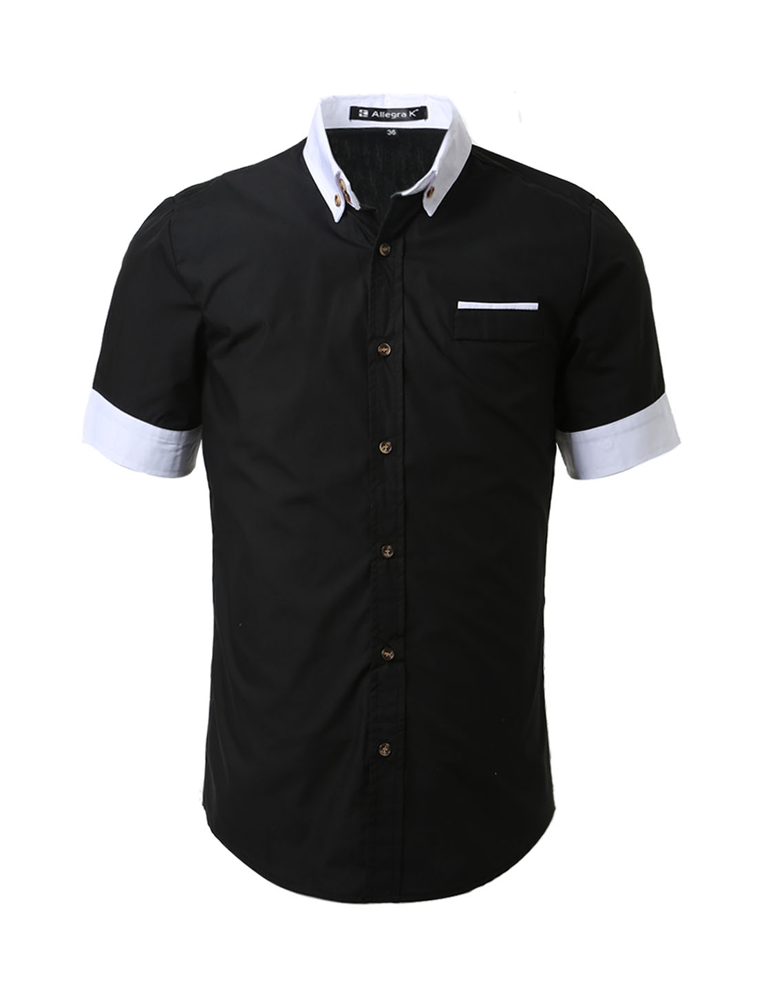 Men short sleeve button down slim fit shirts black s tanga for Boys short sleeve button down shirt