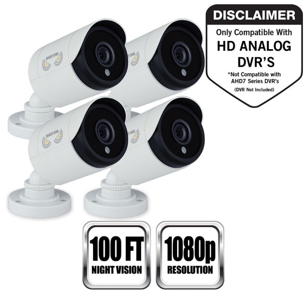 4-Pack Night Owl (CAM-4PK-AHD10) 1080P Cameras Manufacturer Refurbishe